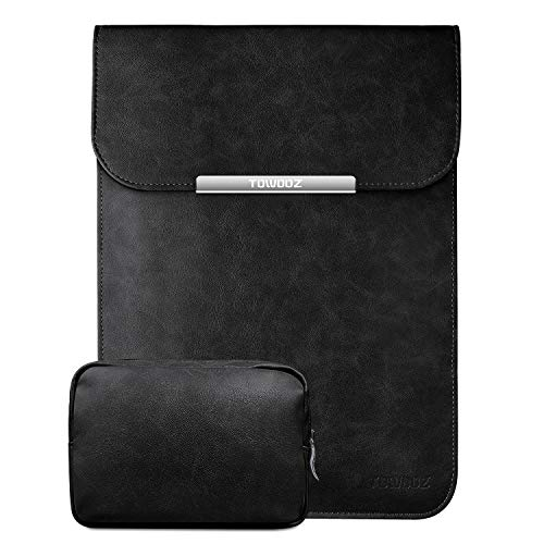 TOWOOZ Laptop Sleeve Case Compatible with 2016-2020 MacBook Air/MacBook Pro 13-13.3 inch/iPad Pro 12.9 / Dell XPS 13/ Surface Pro X, with Small Bag, Faux Suede Leather (13-13.3inch, Black)