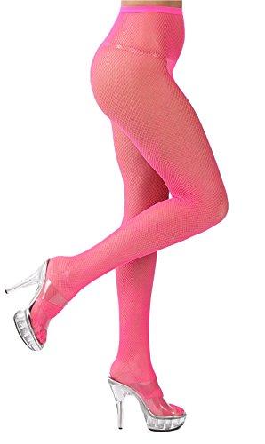 krautwear Damen Strumpfhose Offen Netzstrümpfe Halterlose Netz Straps Strümpfe Elegant Sexy Netzstrumpfhose Hoher Bund Schwarz Rot Weiss Neon Pink Grün Kostüm Fasching Karneval 80er (151-pink)