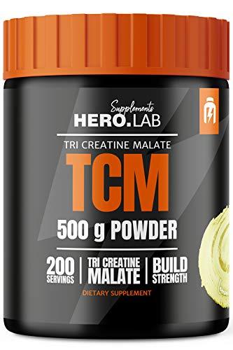 Hero.Lab TCM - 1 paquete - Tri creatina malato - Mejora de la fuerza muscular - Fácilmente digerible - En forma de polvo altamente soluble (Lemon, 500g)