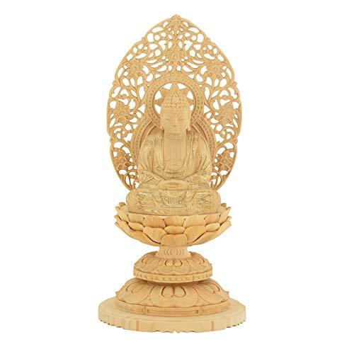 【お仏壇のはせがわ】 仏像 座弥陀 カヤ 丸台 金粉紋様 25 本尊 天台宗 阿弥陀如来