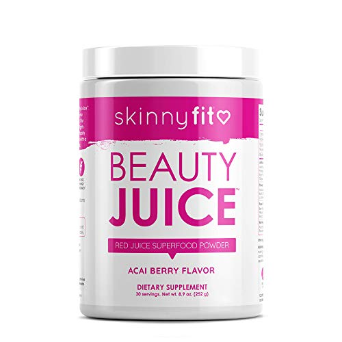 SkinnyFit Beauty Juice, Red Superfood Powder, Acai Berry Flavor - Anti-Aging, Aids in Digestion, Helps Boost Mood & Immunity, Prebiotics & Probiotics, 30 Servings