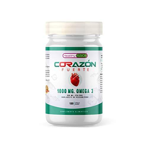 Omega 3 de 1000mg de aceite de pescado puro | Máxima protección para el sistema cardiovascular y el corazón | Reduce los niveles de colesterol | 300mg de EPA/DHA | Vitamina E | 180 cápsulas blandas
