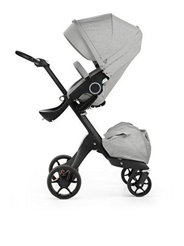 Stokke Black V5 / Chassis With Complete Stroller Seat, Parasol and Cup Holder, Grey Melange
