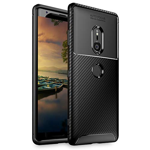 NALIA Silicone Case Compatible with Sony Xperia XZ3, Carbon Look Protective Back-Cover, Ultra-Thin Rugged Smart-Phone Soft Rubber Skin, Shockproof Slim Bumper Protector Backcase Shell Etui - Black