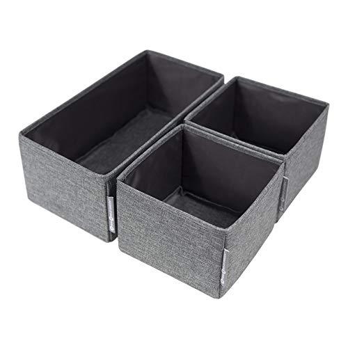Bigso Box of Sweden 3er-Set Aufbewahrungsboxen – Schubladen Organizer mit Zwei kleinen Boxen und Einer großen Box – ideal zur Kleideraufbewahrung in der Kommode – grau