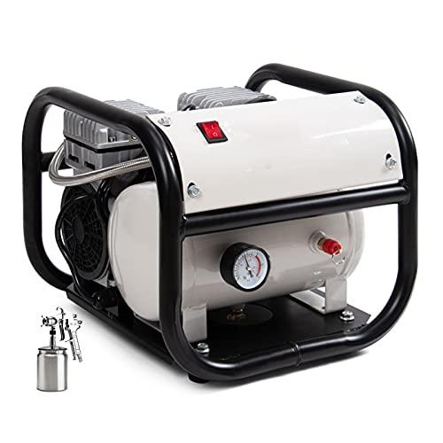 WUK Compresor de Aire sin Aceite 800W Portátil Pequeño Tipo de Marco para el hogar Compresor Decoración Pintura en Aerosol Bomba de inflado de neumáticos Compresor 6L Silencioso (65dB)
