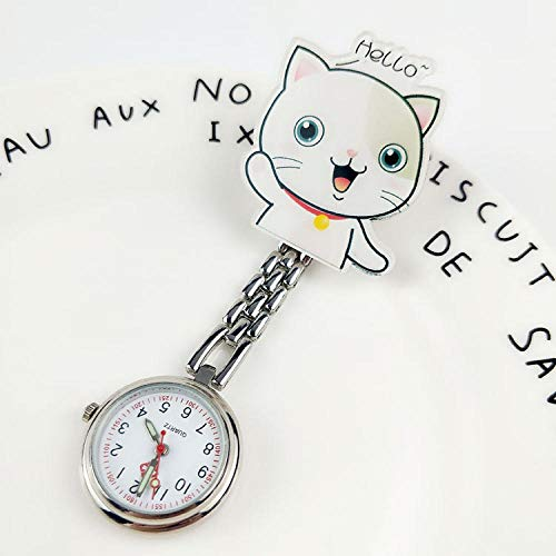 Cxypeng Taschenuhr Krankenschwestern Uhr,Cartoon wasserdicht leuchtende Krankenschwester Taschenuhr Prüfungstabelle Student-Gold,Krankenschwesteruhr/Pulsuhr