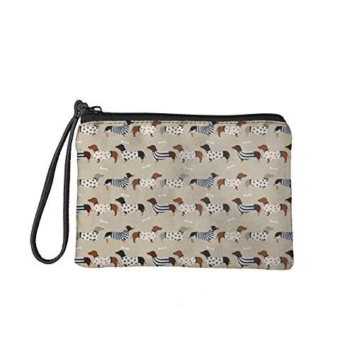 KUIFORTI Pequeño monedero de las mujeres de los hombres casual cremallera cambio bolsa tarjeta teléfono titular bolso, Precioso perro salchicha (Beige) - KI-K282D82