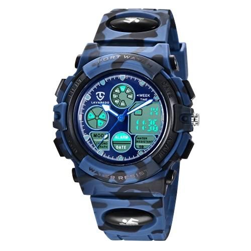 Orologio digitale per bambini, impermeabile, sportivo, in silicone, con sveglia, cronometro, data,...