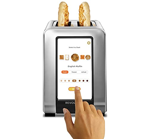 Revolution InstaGLO™ R180 Toaster. 2-Slice, High-End Stainless Steel Design. Features Touchscreen with 60+ High-Speed Smart Settings for Perfectly Toasted Bagels, English Muffins, Toast, Pop-Tarts and much more