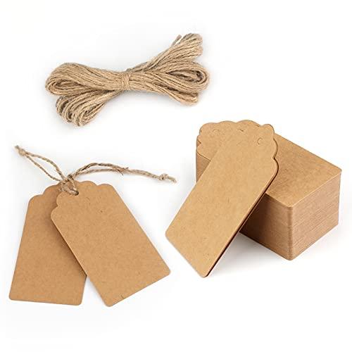 Kraftpapier Anhänger Geschenkanhänger Etiketten 10*5cm, 100stk. mit Jute Schnur, für Hochzeitsgeschenke Weihnachtsgeschenke Partygeschenke (Braun)