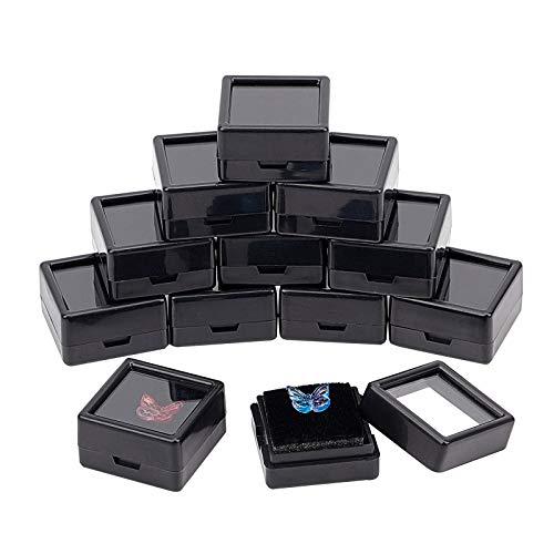 BENECREAT 36 cajas de exhibición de piedras preciosas negras cuadradas de acrílico (3 x 3 x 1,65 cm) con tapas superiores transparentes y esponja en el interior para gemas, monedas, embalaje de joyas
