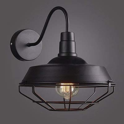 RUXUE Industrial Wall Sconce Retro Cage Loft Warehouse Black Light Fixtures (with cage)