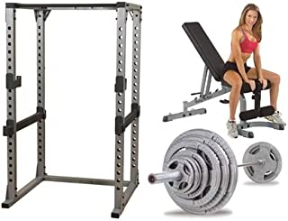 Body Solid Pro Power Rack With FID Bench And 300 lb Olympic Set