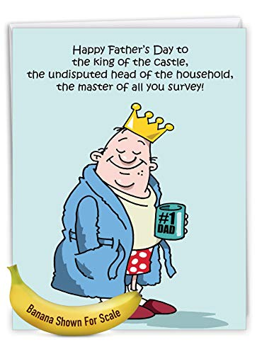 NobleWorks - Jumbo Fathers Day Card Funny (8.5 x 11 Inch) - Hilarious Greeting Notecard for Dads, Grandpa - King Of The Castle J0239 Photo #5