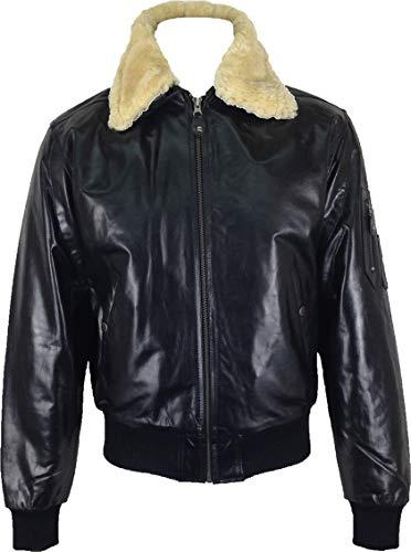 UNICORN Hommes 'Airforce' aviateur pilot Réel en cuir Veste Noir (Réel fourrure collier) #P1 Taille 38