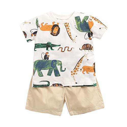 Sanlutoz Baumwolle Baby Junge Kleidung Sets Sommer Karikatur Neugeborene T-Shirt+Kurze Hose (12-18 Monate / 80 cm, BCS9045)