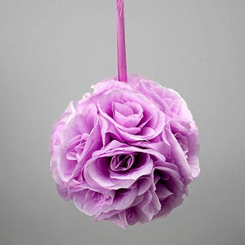 Event Decor Direct Rose Silk Flower Pomander Kissing Ball 6 inch - 12 Pieces - Lavender