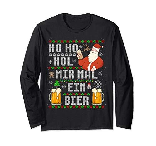 Witziges Weihnachten Ho Ho Hol mir ein Bier Ugly Christmas Langarmshirt