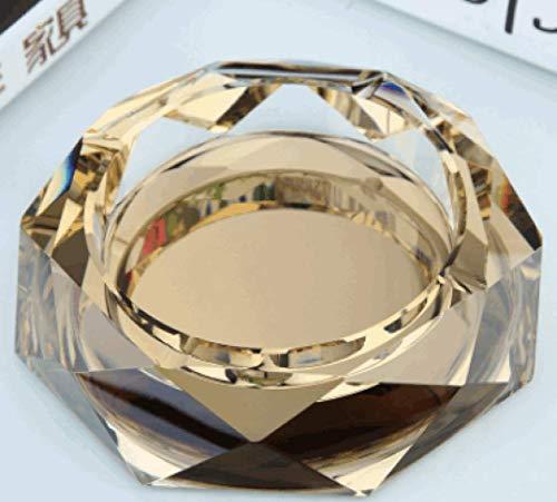 AMITD robuuste ronde asbak van kristalglas voor binnen en buiten