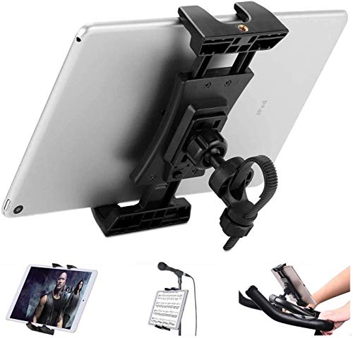 Exercise Bike Tablet Mount, Portable Tablet holder for Microphone Stand/Spinning Bike/Treadmill, 360° Adjustable Ipad Bike Stand for IPad Pro, IPad Mini, IPad Air and Other Tablet 4.7-12.9Inch