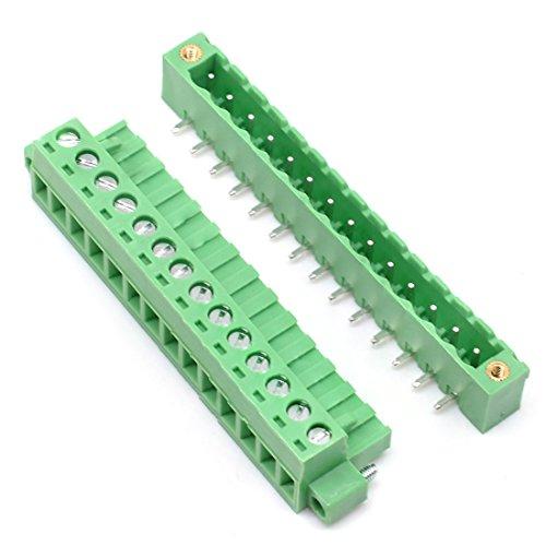 Willwin 5 Set 5,08 mm Abstand rechtwinklig 14-polige steckbare PCB-Anschlussblöcke Steckverbinder Grün