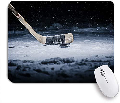 NOLOVVHA Gaming Mouse Pad Rutschfeste Gummibasis,Hockeyschläger und Puck gleiten über das Eis Nahaufnahme Slapshot-Spieler Liebe,für Computer Laptop Office Desk,240 x 200mm