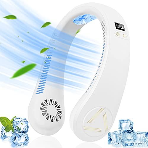Hazida 2021 - Ventilatore portatile da collo, da appendere al collo e senza pale, 4000 mAh, alimentato a batteria, ricaricabile tramite USB, condizionatore d'aria personale