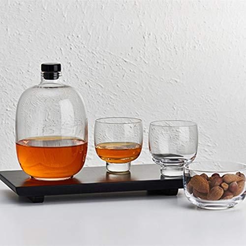 SHENGYUAN Juego de Jarra de Whisky de Cristal con 2 Vasos de Whisky para Ron, Brandy, Vino, Vodka, 1100 ml