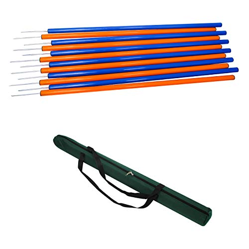 Trademark Innovations Dog Agility Weave Poles Training Set Equipment