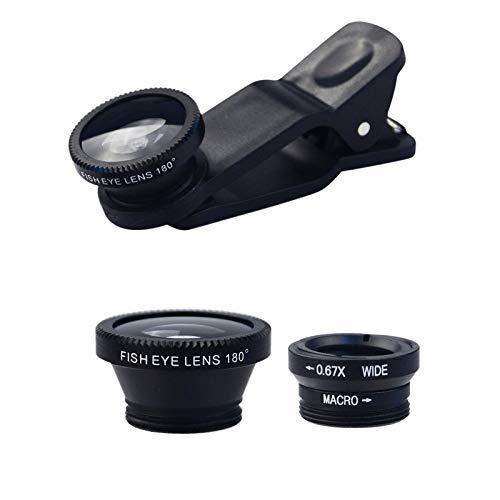 Handy Objektiv Kamera Linse Kit Universal Vorsatzlinsen Kamera Dauerhaft Handy Kamera Objektiv Set Mit 180-Grad-Fischaugen-Objektiv, 0.67XWeitwinkel Objektiv, 10-fach Makro-Objektiv Für Smartphones