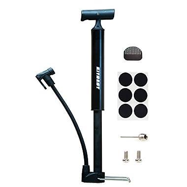 Kitbest Bike Pump, Aluminum Alloy Portable Bike Floor Pump, Mountain, Road, Hybrid & BMX Bike Tire Pump, Floor Bicycle Air Pump Compatible with Presta & Schrader Valve & Sports Ball (Black)