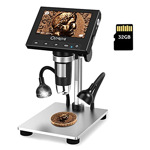 Coin Digital Microscope, Opqpq USB Microscope with 4.3'' LCD Screen and 32GB SD Card, 8+2 Adjustable Fill Lights, Metal Bracket, for Kids Adults, Windows Compatible