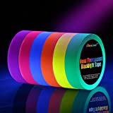 Neon Tape [6 Rollos] Cinta Adhesiva,UV Fluorescente Luz Negra, Neón Gaffer Tape, Glow In The Dark, Blacklight, 6 Colores, 25MM*15M Por Rollo, Para Suministros De Fiesta De Luz Negra Para Halloween