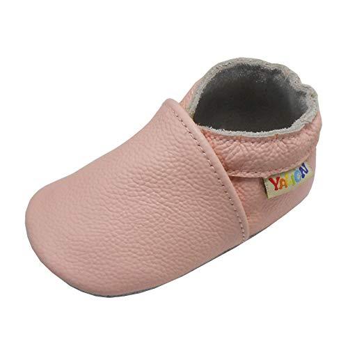 YALION Baby Weiche Leder Lauflernschuhe Junge Krabbelschuhe Mädchen Hausschuhe Lederpuschen Multi-Stile (Hell Rosa, Numeric_22)