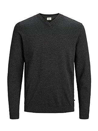 Jack & Jones Jjebasic Knit V-Neck Noos suéter, Gris (Dark Grey Melange Dark Grey Melange), Medium para Hombre