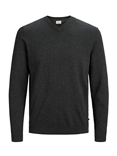 JACK & JONES Jjebasic Knit V-Neck Noos Felpa, Grigio (Dark Grey Melange Dark Grey Melange), Medium Uomo