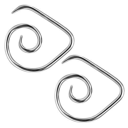 BanaVega - 2 unidades de acero quirúrgico con espiral de alambre de acero quirúrgico, dilatador, dilatador, joyería para ver más tamaños