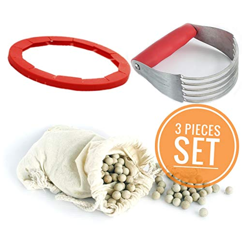 Great Value Baking Set Pie Weights, Silicone Crust Adjustable Edge Protector Shield, Dough Blender. Beans Weights Stones Ceramic Pan