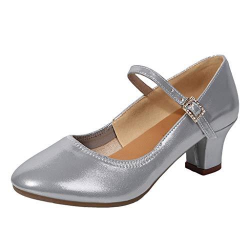 Damen Basic Closed Toe Hight Heel Riemchensandale Sommer Outdoor Sandals(Silber/Silver,41)