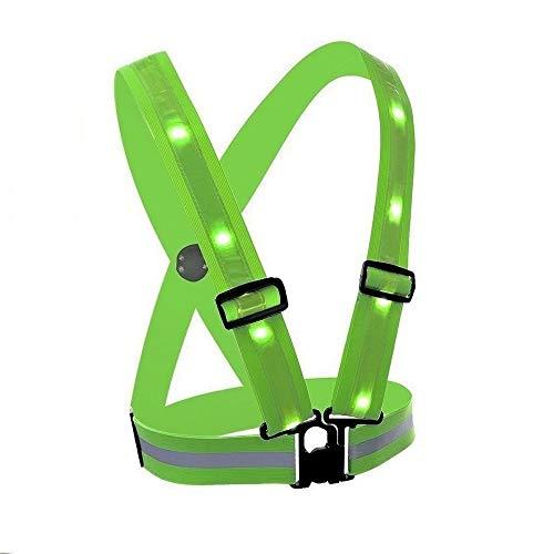 High Vis LED Vest Safety Lighted Cycling Running Vest USB Charging Elastic Straps Adjustable Size Flashlight Warning Vest for Outdoor Sports - Led Glowing Suspenders Reflective Running Gear Vest