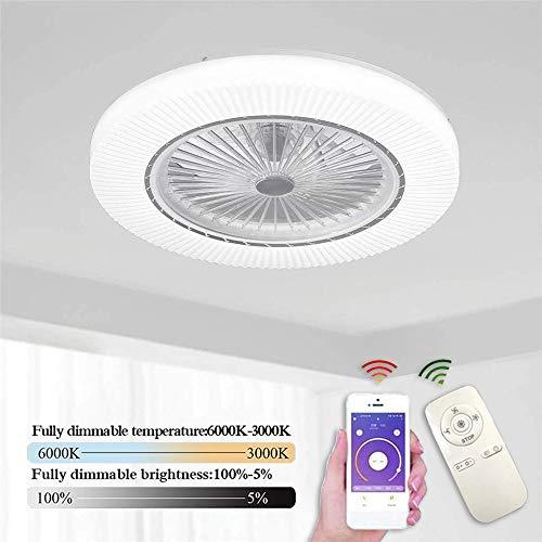 Moderne Kreative Fan Deckenleuchte 45W LED Dimmbar Fernbedienung Deckenventilator Mit Beleuchtung Super Leise Ventilator mit Licht 3 Windgesch für Kinderzimmer Schlafzimmer Wohnzimmer Beleuchtun Ø55cm