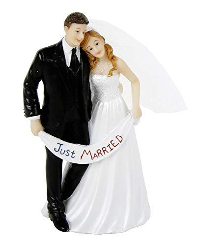 MIK Funshopping Tortenaufsatz, Tortenfigur, Dekofigur Brautpaar Hochzeitspaar Wedding Hochzeit Trauung Hochzeitstorte Cake-Topper (Just Married mit Banner)
