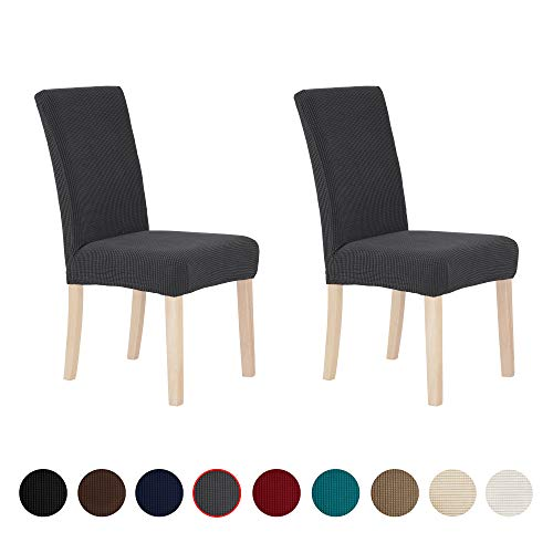 Deconovo Decorative Polyester Chair Covers Removable Waterproof Grey Chair Slipcover, Set of 2