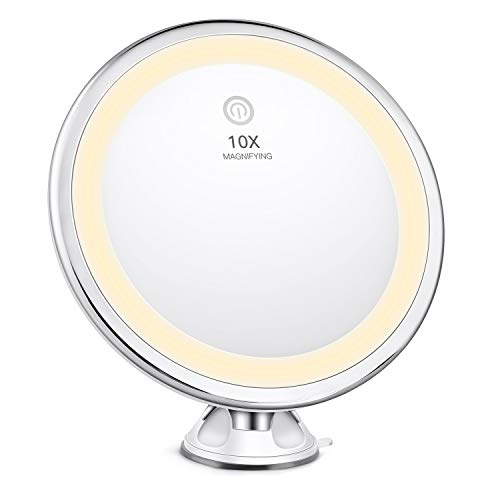 Bestope - Specchio da Trucco con ingrandimento 10x, Illuminato in 3 modalità di...
