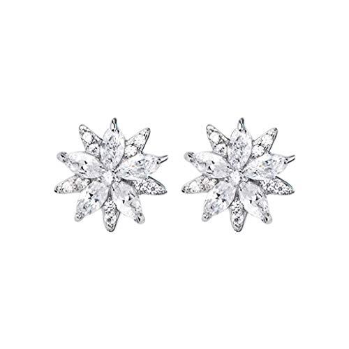 Kronleuchter 925silver Earring Simple Snowflake Silver Ladies Stud Pendiente