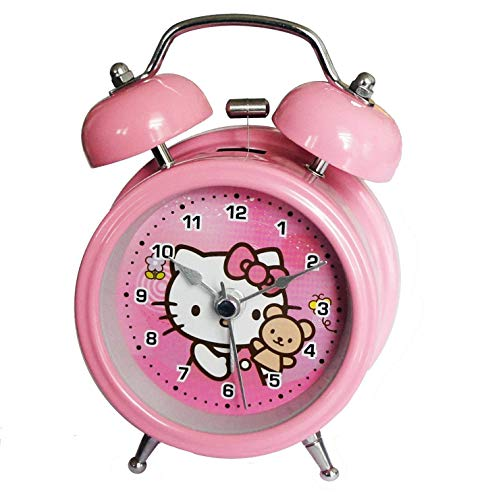 RIANZ Metal Table/Desk Twin Bell Alarm Clock with Light for Kids - (Pink, Small )