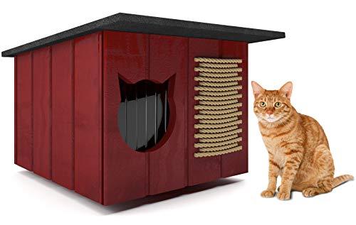 Novamat Katzenhaus wetterfest für Garten, Terrasse, einfache Montage, Gute Isolation für draußen Katzenhöhle Outdoor Winterfest aus Holz, Katzenhaus:Mahgoni