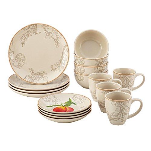 Paula Deen 58637 16 Piece Orchard Harvest Dinnerware Set, Print