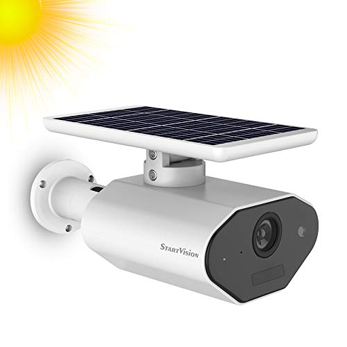 Solar Battery Powered Security Camera, StartVision Outdoor 2.4GHz WiFi IP Camera with Motion Detection Night Vision, Wireless Home Surveillance Camera Built in Battery, IP65 Waterproof Weatherproof Bullet Cameras